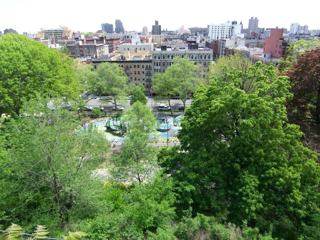 Looking east toward Harlem from Morningside Drive over the park.
