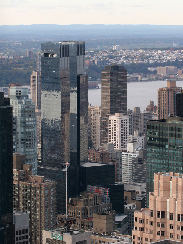The Time Warner Center seen from the Top of the Rock in Rockefeller Center.