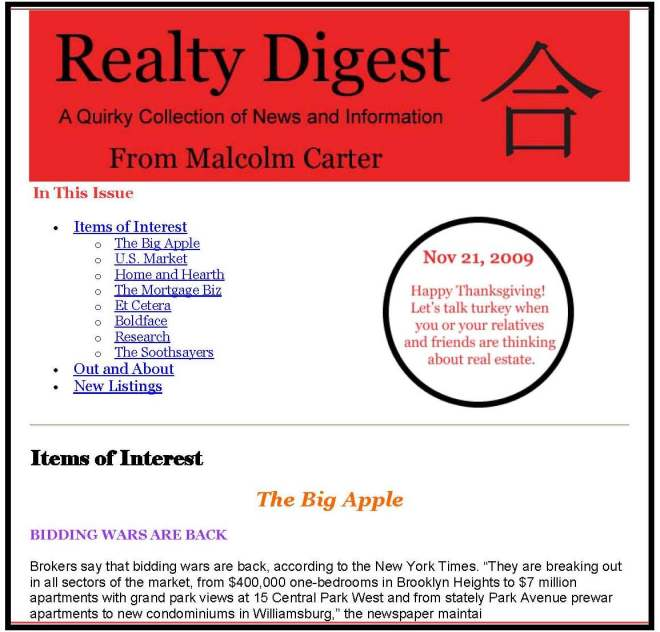 Service You Can Trust newsletter, Realty Digest