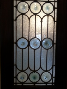 Several doors in the co-op feature this artful glass.