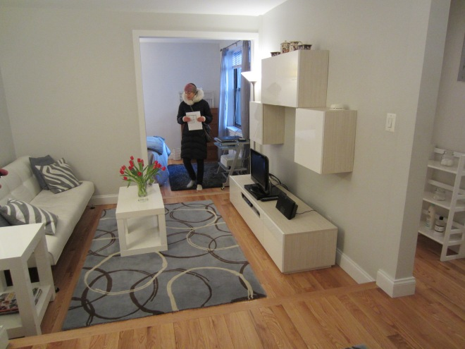 Truncated living room in an Upper West Side studio apartment.
