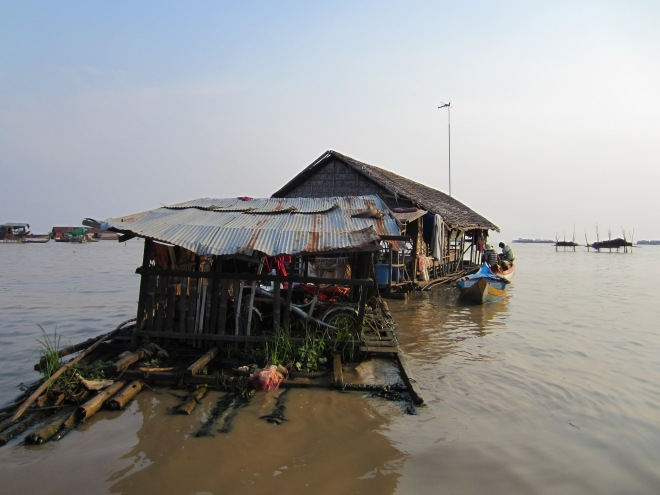 Floating houses, not houseboats, on Tonle Sap near Siep Reap and Angkor Wat.