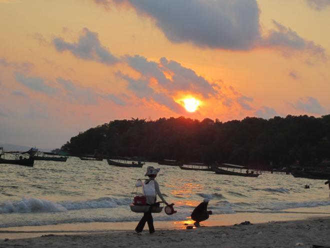 Sunset on the beach in Sihanoukville