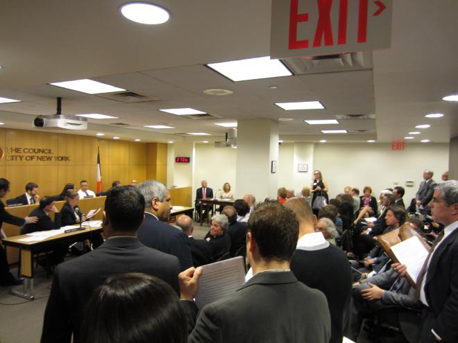 Approximately 70 individuals attended the SRO hearing on a bill to add consumer protections to the co-op board application process.