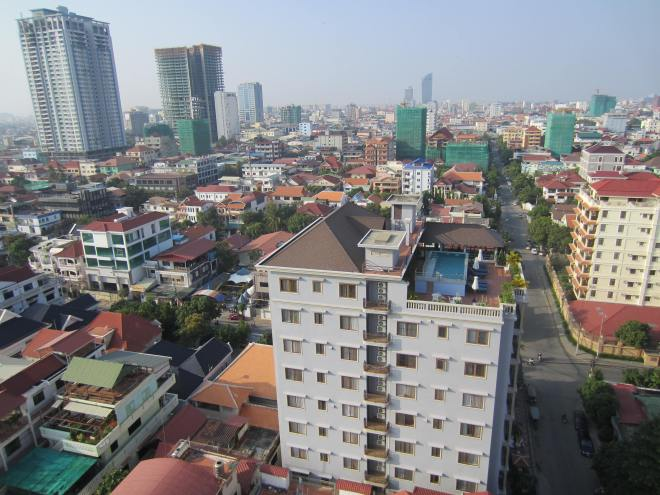 View of central Phnom Penh from roof of my apartment building.