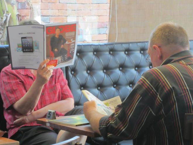 This woman makes a point of not looking at me -- or her husband.