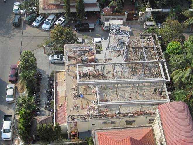 View from our living room of the construction hell below.