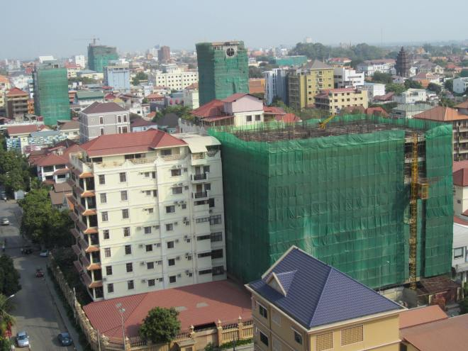 Buildings wrapped in green represent just a few close by.