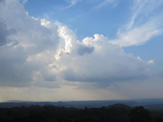 "At the end of our first day in Mondulkiri, clouds gathered over the ""sea forest."""