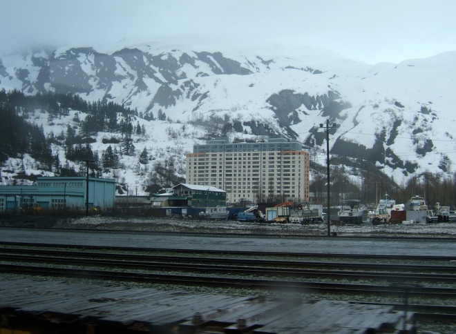 Whittier, Alaska, which is dominated by a building in which almost everyone lives.