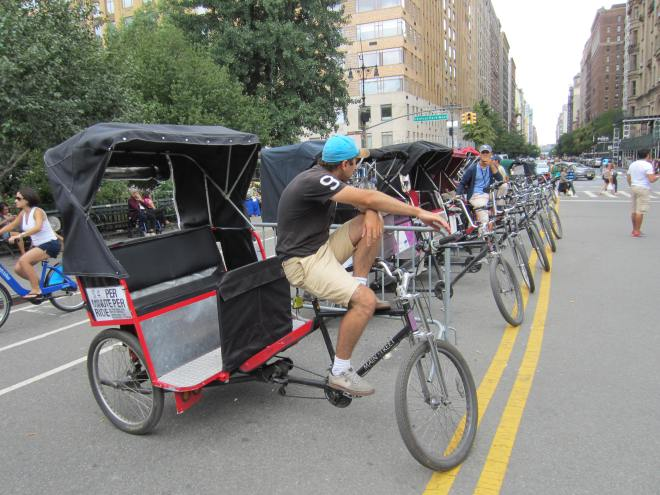 A ride in one of New York's numerous cyclos can run $45 for 15 minutes.