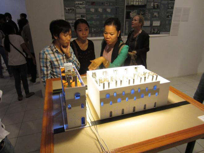 Students and others thronged the opening night of an exhibition that seeks to re-imagine the shophouse.