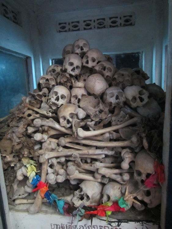A small number skeletal remains of Khmer Rouge carnage, which claimed more than 1.7 lives.
