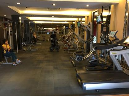 My air-conditioned gym is expensive by Cambodian standards, charging $15 for a day pass, but it is well run and nicely appointed, including a 25-meter-long swimming pool, in contrast to the facility above.