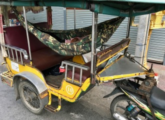 Hammocks are a tuk-tuk driver's best friend.